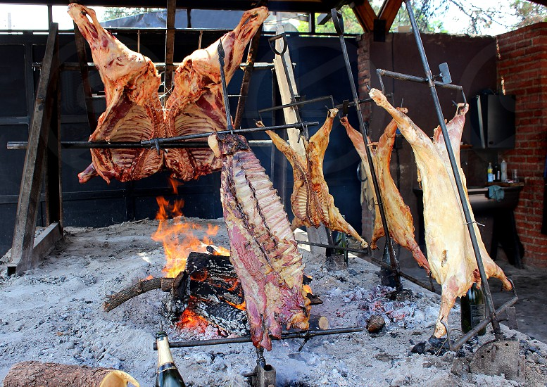 cow and goat ribs cooking flame in Argentina photo