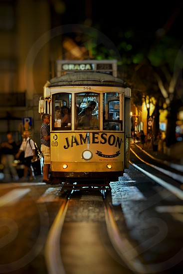 photo of yellow Jameson 558 tram photo