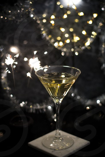 New years bubbly with star light photo
