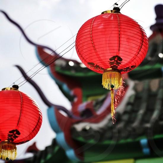 Chinese New Year red lanterns photo