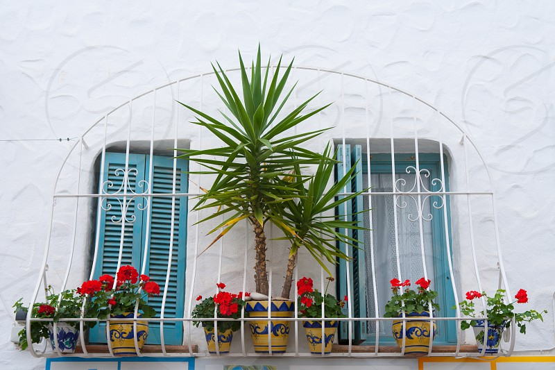 Mediterranean balconade typical from Spain in Peniscola Castellon photo