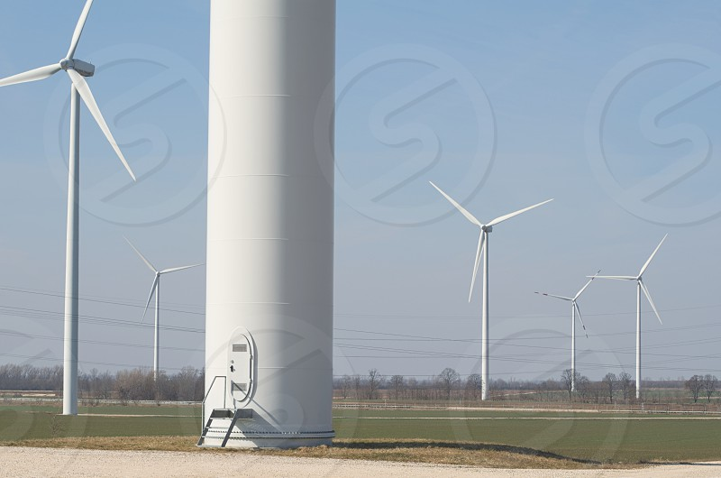 Wind Farm on Agricultural Land Daytime Horizontal photo