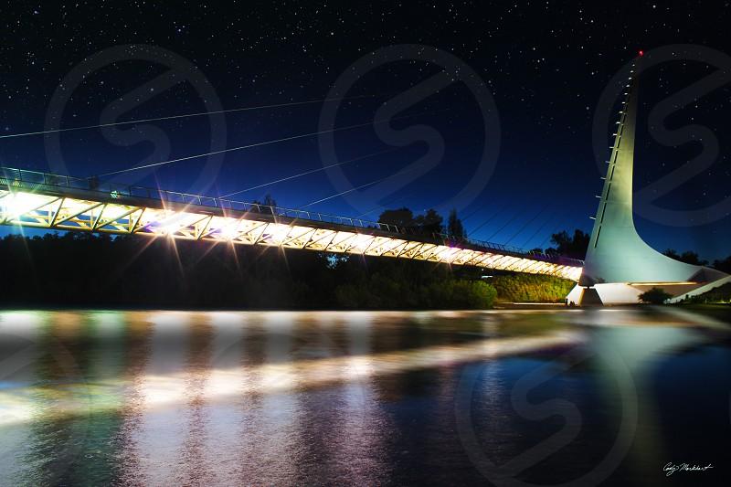 Reflections of the Sun-Dial bridge Redding CA  photo