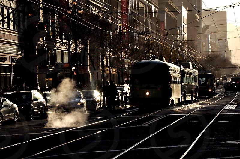 Tram at San Francisco downtown photo