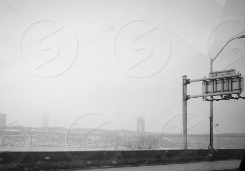 Highway road street sign New York fog bridge cloud photo