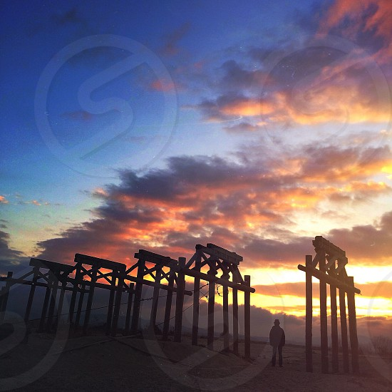 pillars under sunset photo