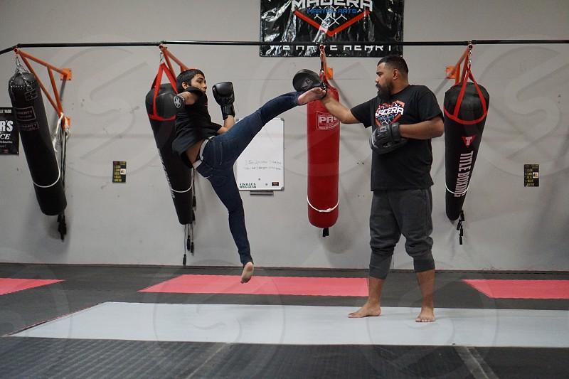 Martial arts mma kick motion photo