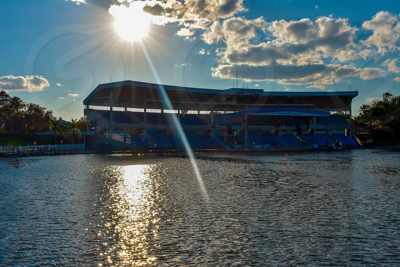 Orlando Florida. March 09 2019. Bayside Stadium on sunset background  at Seaworld in International Drive area (1) photo