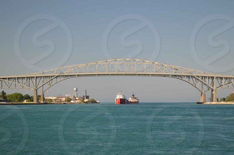 Blue Water Bridge Pt. Huron/ Sarnia freighter  photo