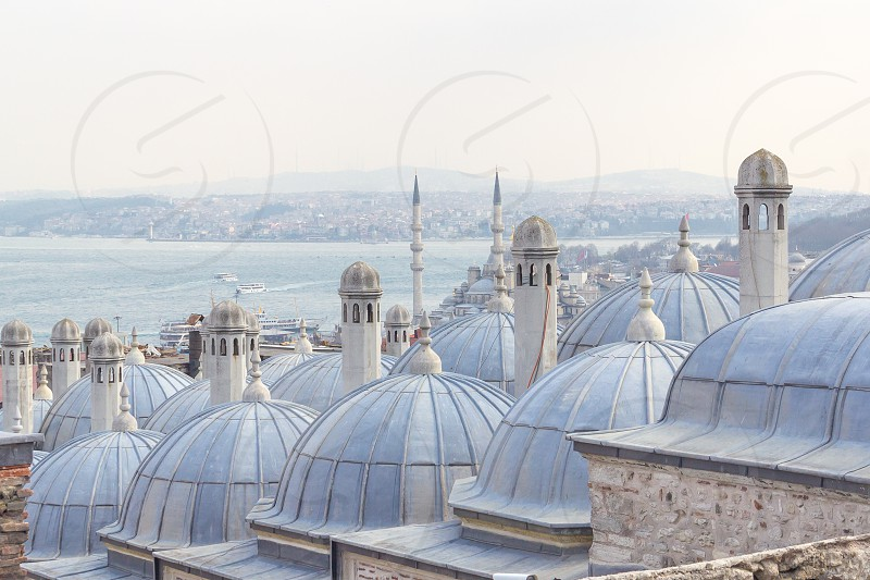 View from Suleymaniye Mosque in Istanbul over to the Bosphorus photo