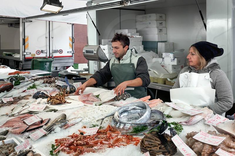Fresh Fish Market Stall in Monza photo