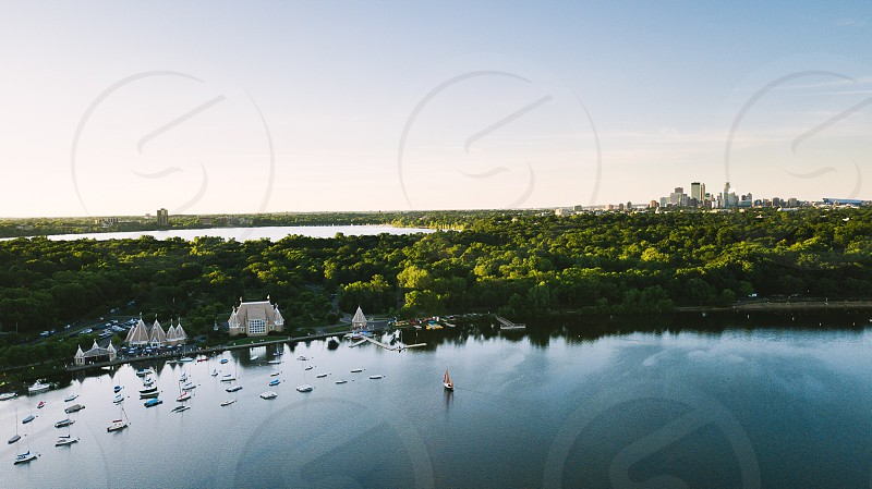 Sailing drone aerial lake Minnesota Midwest photo