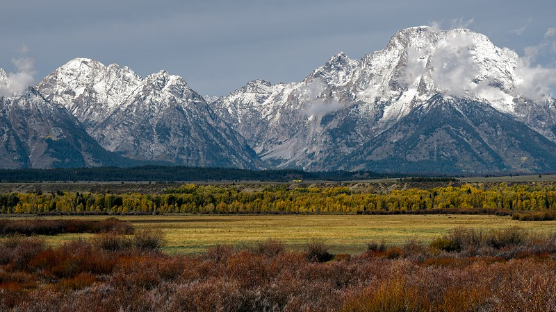 View of the Grand Teton Mountain Range photo