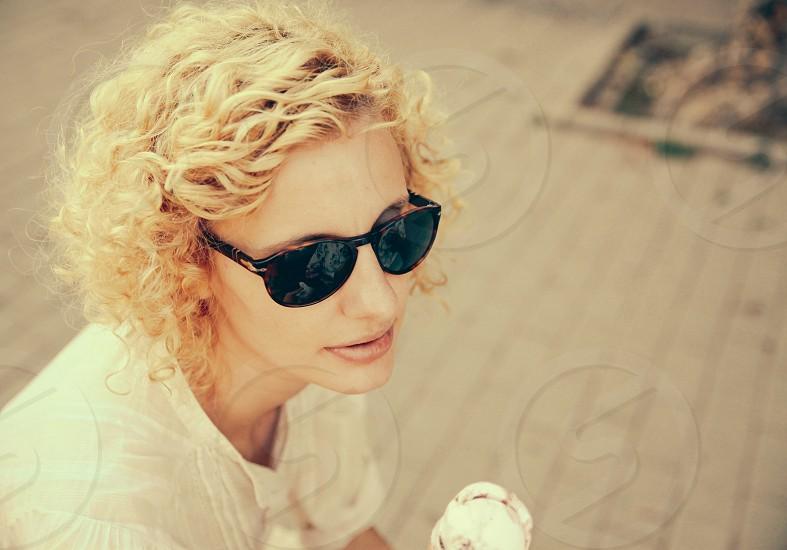 ice cream sun glasses girl smile photo