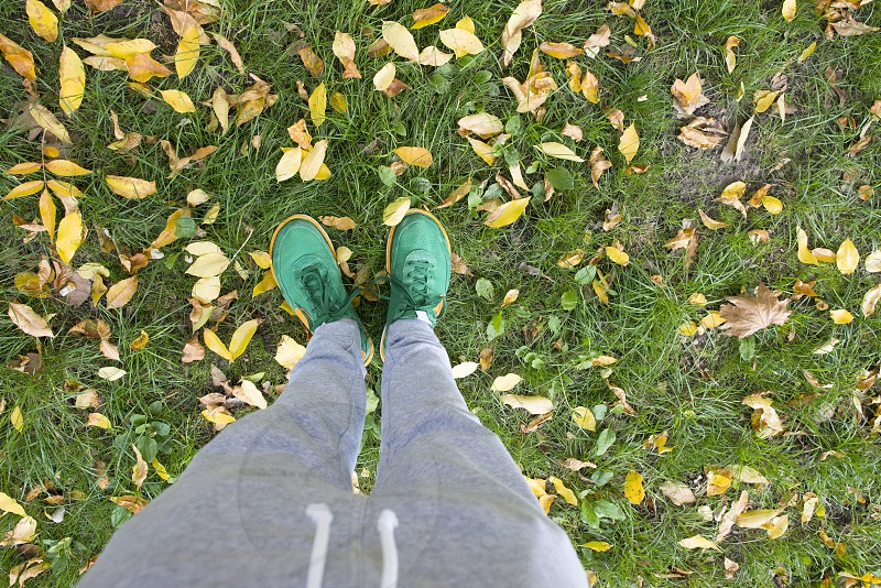Feets on a green meadow with autumn leaves. Green men shoes photo