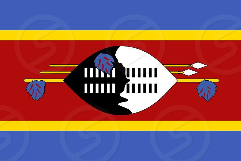 Official Large Flat Flag of Eswatini Horizontal photo