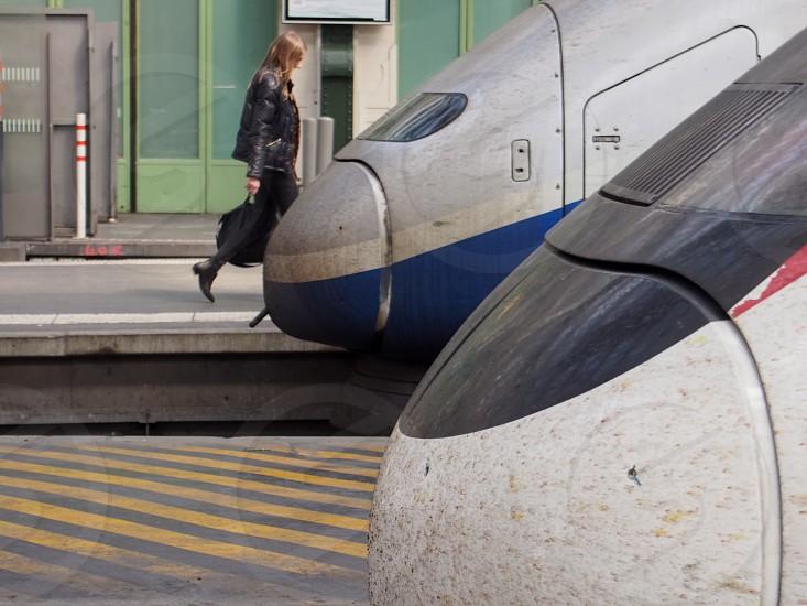 woman trains station photo
