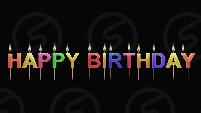 3D illustration of birthday candle photo