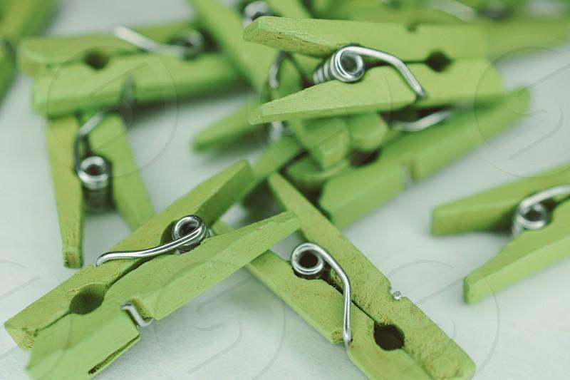 Green clothespin  photo