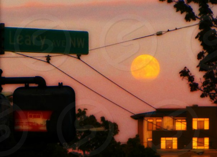 moonrise on Leary street Ballard in Seattle WA photo
