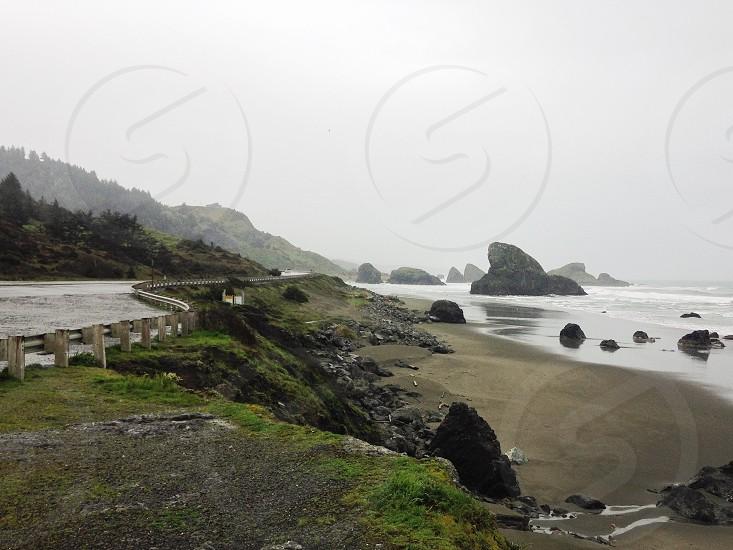 seaside on a foggy view photo photo