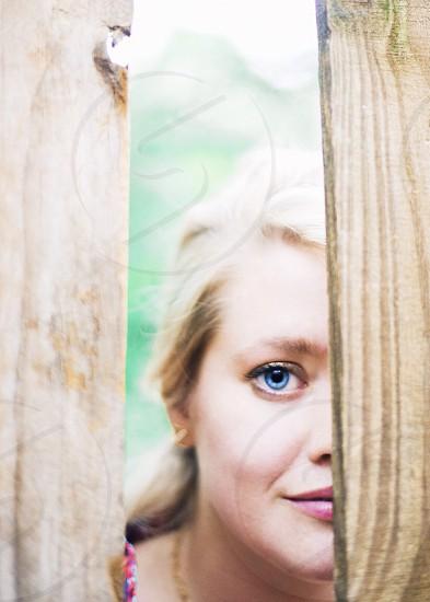 woman peeking photo