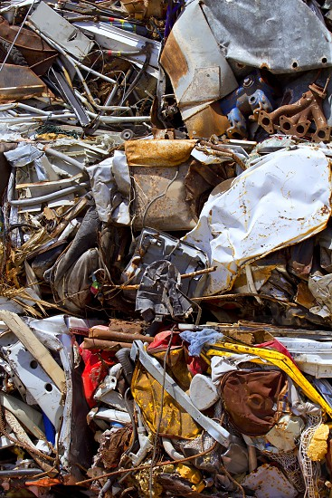 iron scrap metal compacted to recycle green process ecology industry photo