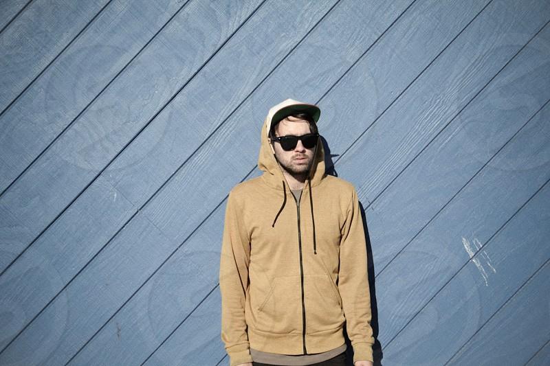 men's tan zip hooded sweatshirt photo