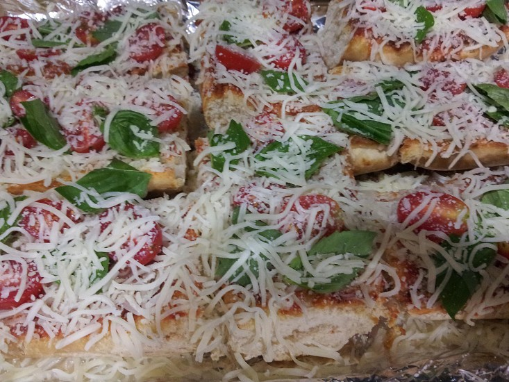 French Bread Cheese Pizza Fresh Basil Tomato photo