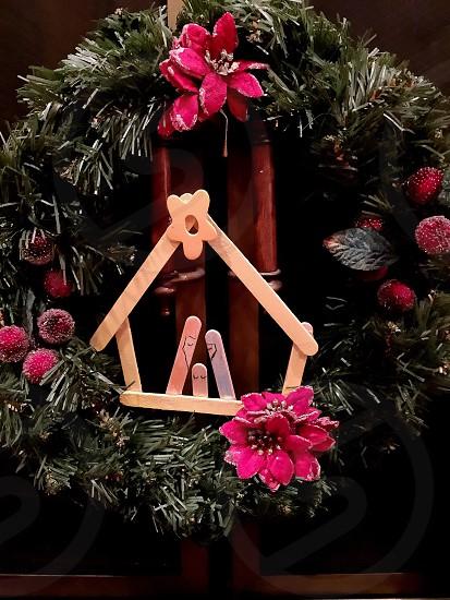 Christmas wreath manger Baby Jesus Nativity photo