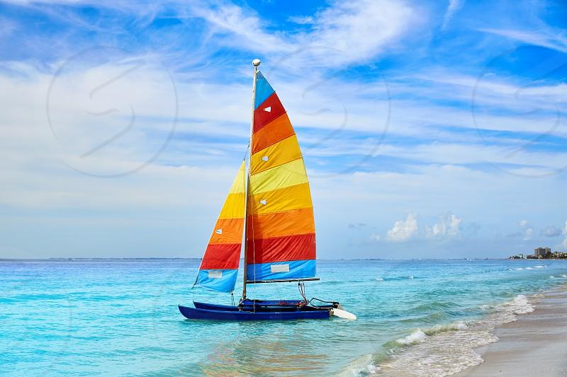 Florida Fort Myers beach catamaran sailboat in USA photo