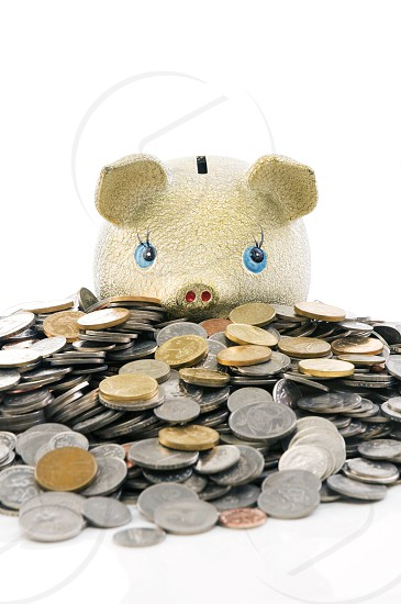 Piggy bank sitting on top of abundance of coins. photo