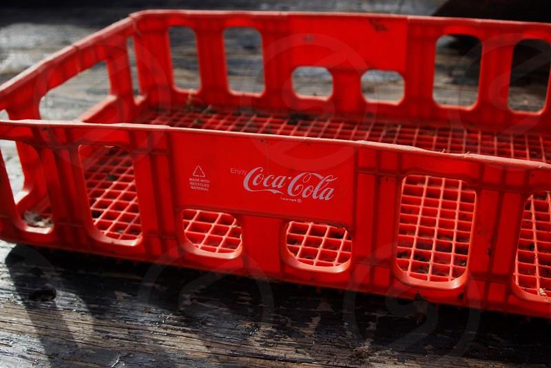 Pop color red coke rustic  photo