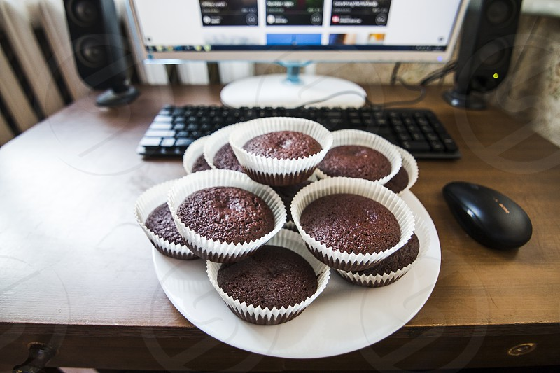 brownies brownie chocolate muffin muffins office lunch tasty energy testosterone good for working work food photo