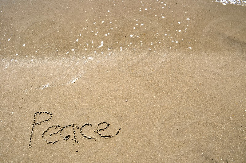 Peace written in the sand photo