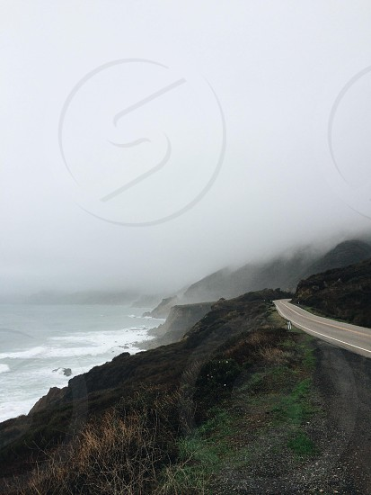view of white fog and road photo