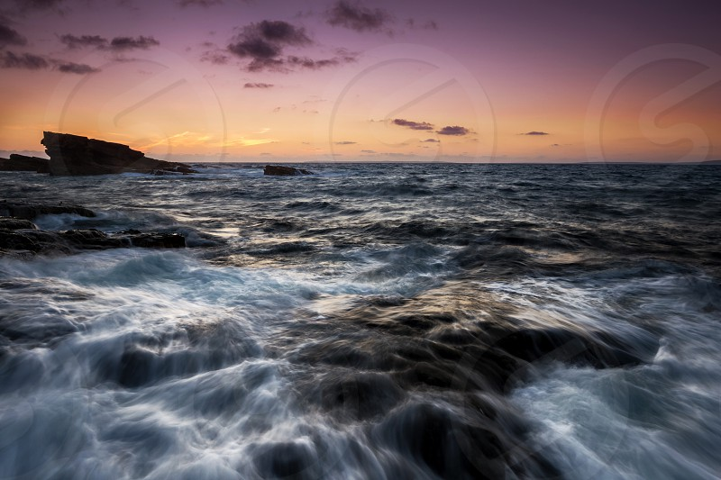 Sea ocean waves cliffs sunset ireland Atlantic  photo