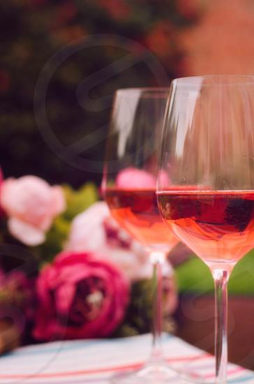 rose wine wine glasses summer summertime garden garden party refreshing pink photo