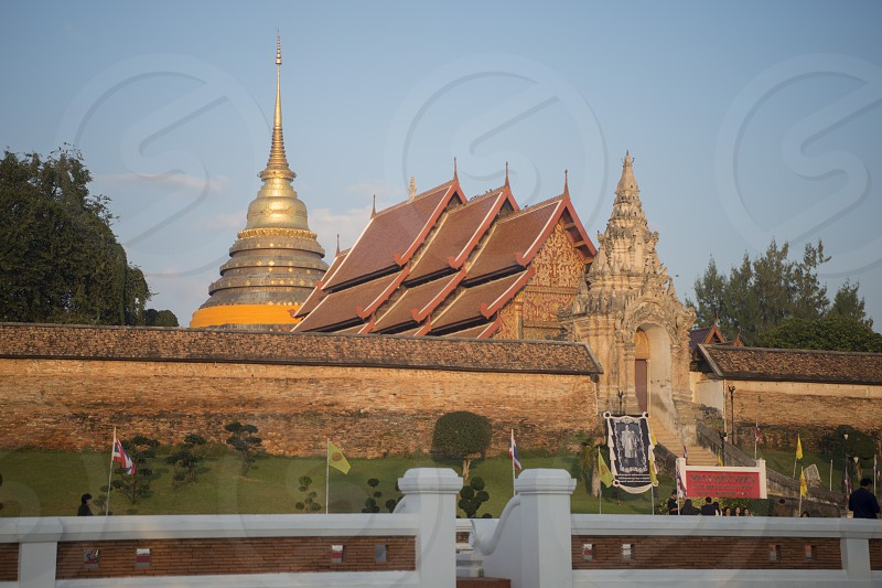 The Wat Prathat Lampang Luang near of the city of Lampang in North Thailand. photo