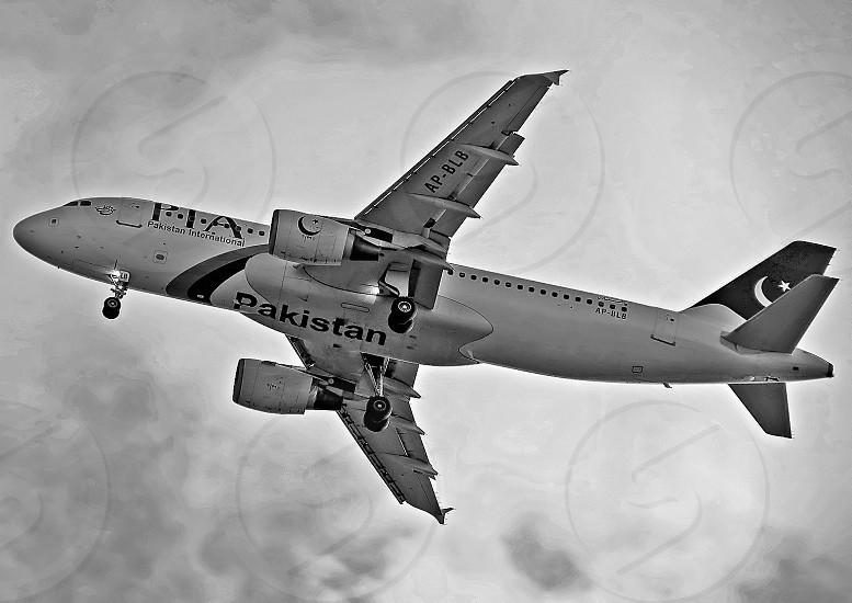 PIA Airbus A320 in Black & White. photo