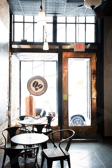 coffee bar cafe interior back lit photo