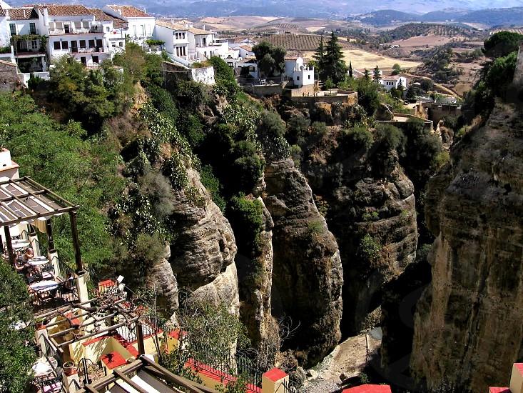 Gorge landscape Spain Andalucia Ronda cliffs houses land earth photo
