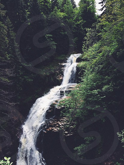 Waterfall water forest naturę water mountains photo