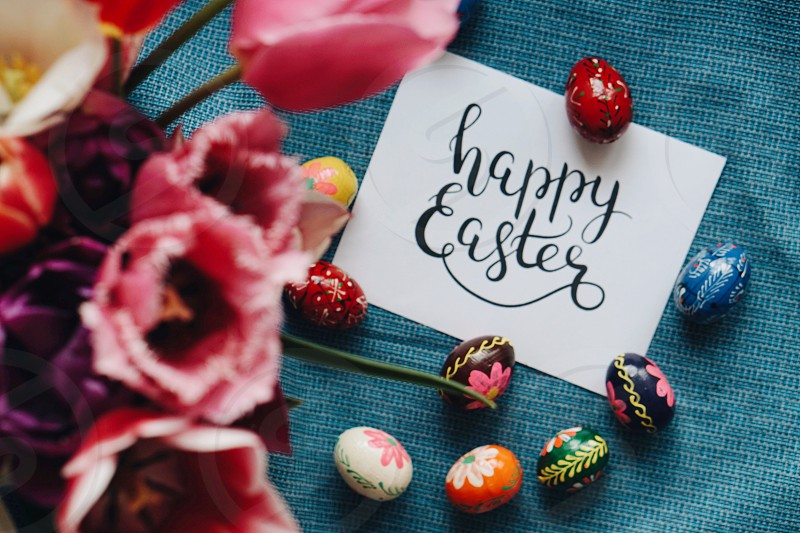 Happy Easter Easter Easter Day Easter decor spring spring flowers card words Easter eggs Easter bunny Easter nest colorful celebration  photo