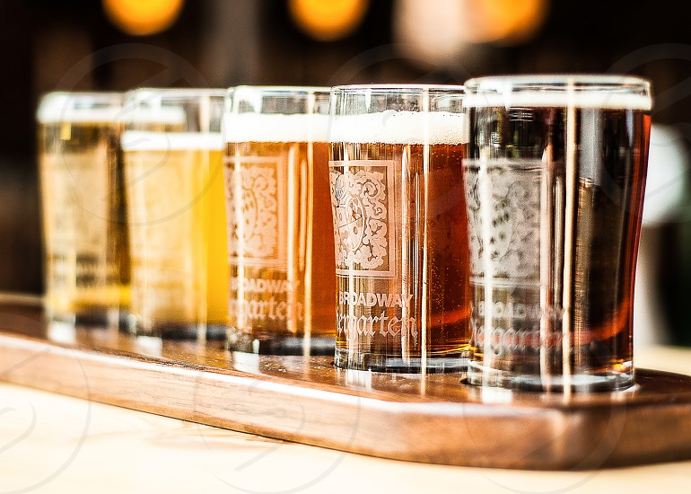 NATIONAL BEER DAY | A shot of different types of beers from a popular local Biergarten in Cape Girardeau MO. photo