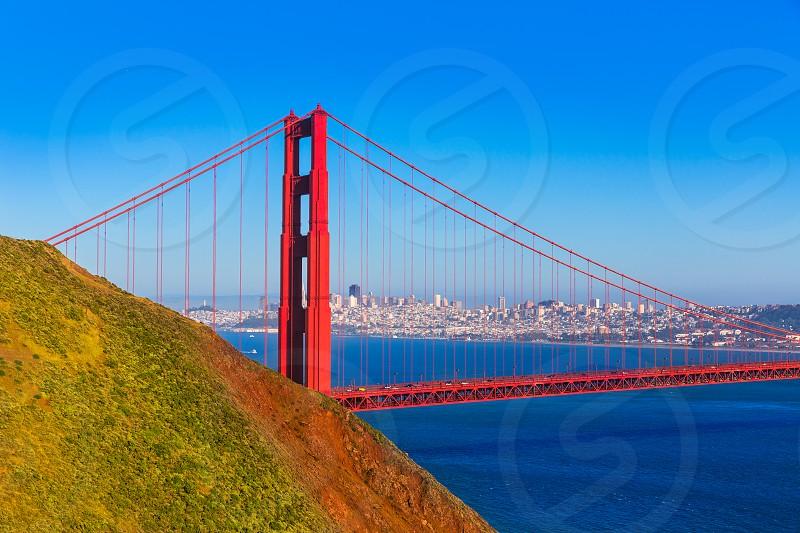San Francisco Golden Gate Bridge GGB from Marin headlands in California USA photo