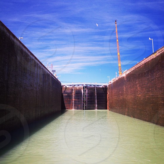 Interior of shipping lock on Welland Canal St Lawrence Seaway photo