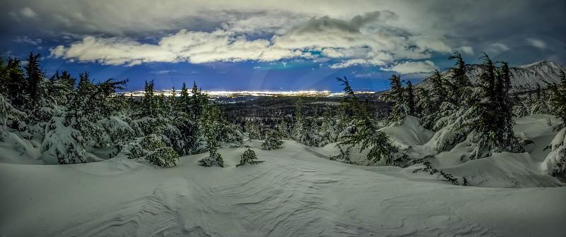 anchorage Alaska flat top hillside city lights photo