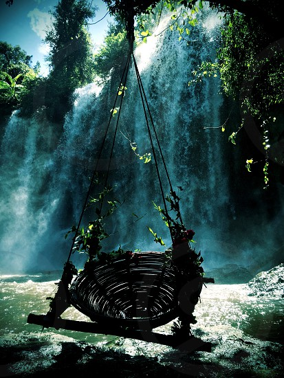 Swing by the waterfall Siem Reap Cambodia photo