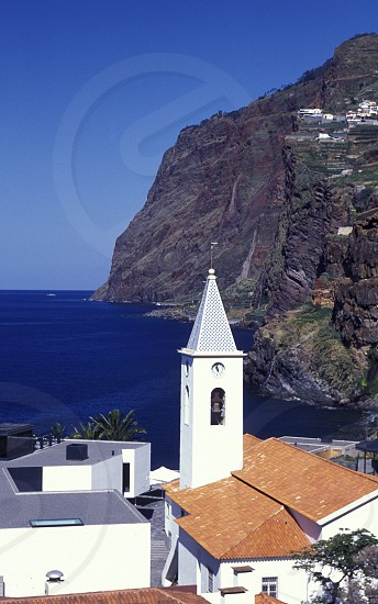 the city centre in the old town of Camara de lobosl on the Island of Madeira in the Atlantic Ocean of Portugal. photo